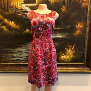 Brooks Brothers Floral Red Sheath Dress Size 8
